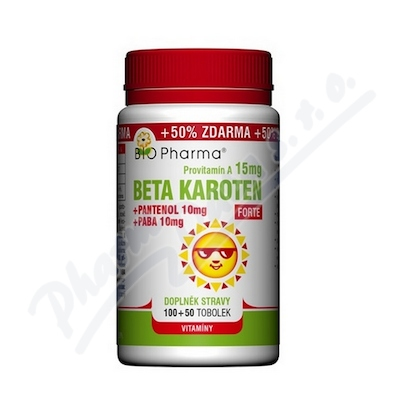 Beta Karoten 15mg+Pantenol 10mg+PABA10mg tob100+50