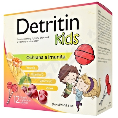 Detritin Kids lízátka na imunitu višeň 12ks
