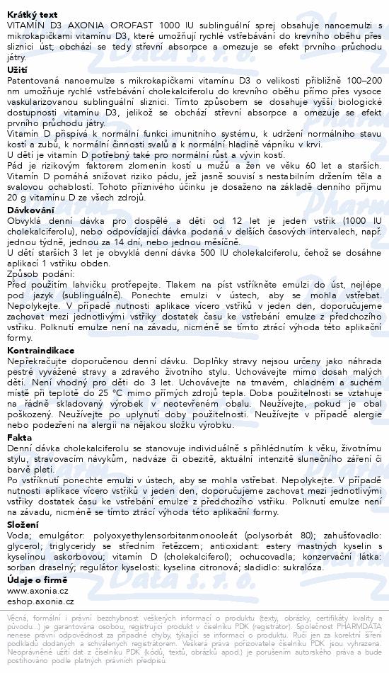 Vitamin D3 AXONIA OROFAST 1000IU sublin.sprej 30ml